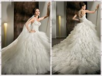 Cheap 2014 Sexy White Wedding Dresses Halter Tiered Organza Beaded Sequin Ruffles Lace Up Chic Bridal Ball Gowns Cathedral Train Demetrios 2842