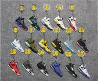 Wholesale Fashion Basketball Shoes Key Chain Pvc key Rings Charm Sneakers Keyrings Keychains Basketball fans Hanging Accessories