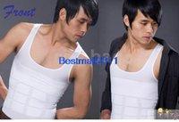 Cheap New Men's Vest Shirt Slimming Tank Top Corset Body Shaper Fatty Black White