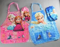 Wholesale 10pcs pink blue years girl s cartoon waterproof apron for kids and painting children kitchen aprons set cooking aprons art smocks