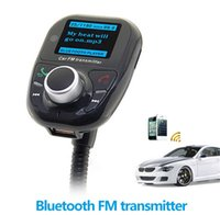 Wholesale Bluetooth Handsfree FM Transmitter Car Kit MP3 Music Player Radio Adapter with Remote Control For iPhone Samsung LG Smartphone off free