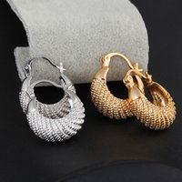 Wholesale Crescent moon hoop Earrings K Gold Platinum hoop earring for woman man stripe Hoop Earrings New arrival H14008