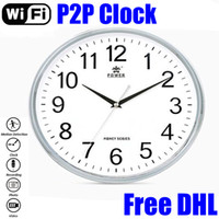 Wholesale P2P WiFi Wall Clock Hidden Spy Camera Motion Detection Wireless Wall Clock Digital Cam Loop Video Wall Clock Video Recorder HS