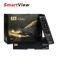 al por mayor dvb-c receiver-Original V8 Golden DVB-S2 + DVB-T2 + DVB-C Combo Receptor Soporte PowerVu Biss Tecla Cccamd Newcamd Youtube Youporn USB con TV Set Top Box