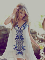 beaded people - 2015 New Free People Style Heavy Beaded Flowers Embroidered Beach Slim Dress Plus Size L XL White and Blue Colours