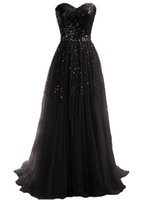 red tube sexy - Long Evening dresses Strapless Selive Sequins Decorated Black Tube Dress Sweetheart Tulle Formal Prom Party gowns