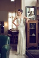 Wholesale 2014 New Sexy Irit Shtein Wedding Gown Collection Deep V neck Sleevesless Floor Length Sheer Back Beading Lace Wedding Bridal Gowns HL