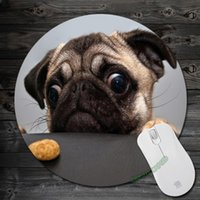 art mouse pads - Custom Funny Animals Cute Pug Wallpaper Art Print Mouse Pad Anti Slip Round Mousepad Gift Mice Mats Mouse Mat for Optical