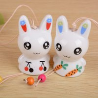 Wholesale Q1605 rabbit ceramic wind chimes high grade automotive decorative ornaments birthday gifts on behalf of a couple