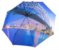 Wholesale Fashion Sydney Night Scene Umbrella Windproof Three Folding Umbrella Anti UV Rain Sun Umbrella Automatic