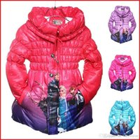 Girl winter padded jacket - 2016 New Arrival Winter Frozen Children s Down Coat Thickening Girl Long Cotton Padded Clothes Kids Elsa Anna Down Jackets Outwear BO6806