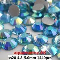 aquamarine nails - Rhinestones for Nail Art ss20 mm aquamarine AB Flat Back Non Hotfix Glue on Nail Art Rhinestones