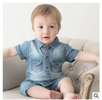 Wholesale European style denim baby boys girls rompers toddler infant clothing jumpsuit M short sleeved summer rompers baby newborn clothing