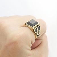 Wholesale Men s Black Agate Gemstone Freemasonry Masonic Stainless Steel Ring Gold Tone