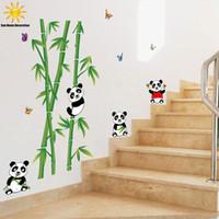 bamboo bathroom mirror - Cute Cartoon Panda Bamboo Wall Sticker For Kids Rooms Bathroom Home Decor Bedroom Living Room Wall Decals Vinyl Stickers