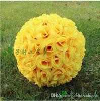 al por mayor rosa amarilla besar bola-25CM 10 pulgadas Amarillo Nuevo artificiales Rose de seda de flores Kissing bolas colgantes de bola para Suministros Fiestas de Navidad Adornos de boda Decoraciones