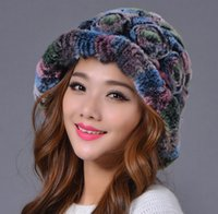 beaver fur hat - Thicken Beaver rabbit fur basin cap Weave multi color flowers bucket hat for head in winter Dome trend party dress accessories