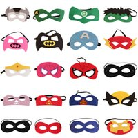 Wholesale Superhero Mask Superman Batman Spiderman Captain America Supergirl kids mask Birthday Halloween cosplay supplies in stock