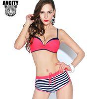angle steel sizes - Plus size XL BIKINI stripe triangle swimwear chest gather steel angle swimsuit boxer shorts bikini sets