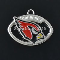 Wholesale Latest Design Rhodium Plated Sports Series Arizona Cardinals Oval Football Enamel Charms