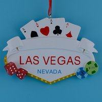 Wholesale Las Vegas Gambling Resin Personalized Christmas Occupation Ornaments With Poker Ace As Handcraft Souvenir Gifts Free Drop Name