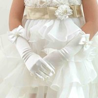girl white gloves - White Pink New Flower Girl Gloves For Wedding Children Bowknot Flower Gown Ball Glove Kid Butterfly Floral Beaded Mittens Performance