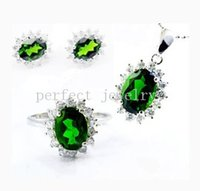 Wholesale Jewelry set Natural real diopside set sterling silver plated k white gold Perfect jewelry Gemstone set DH