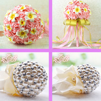 artificial corals - New Wedding Bouquet Coral Hand Made Artificial Beads Crystal Rose Pearls Flower Bride Bridesmaid Bridal Decoration Accessories Cheap
