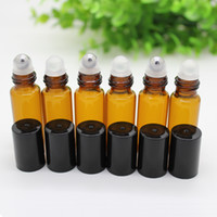 ball roll on bottle - 300set ml Amber Glass Roller Bottles With Metal glass Ball for Essential Oil Aromatherapy Perfumes and Lip Balms