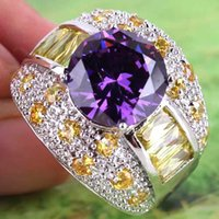 Wholesale 2015 New Lady Women Girl Cocktail Prom Homecoming Party Round Cut Amethyst Citrine Gemstones K Platinum Plated Ring Size A0081