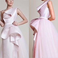 Wholesale Fashionable Wedding Dresses A Line One shoulder Tiered Stain and Tulle Bridal Gowns Floor length Light Pink Bride Dress SX002