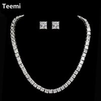 Wholesale Teemi Fashion AAA Zircon Necklace Earrings for Women Wedding Jewelry Sets Party Platium Plated Accessories