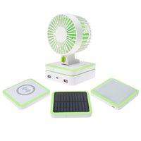 solar fan - Portable Noiseless Fan Qi Wireless Chager Camping Lamp Solar Panel Power Bank EGS_719