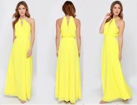 Wholesale Woman Summer Dress Solid Yellow Maxi long dresses Plus Size Chiffon O neck Halter Beach Dress Casual Piece Hot Sale