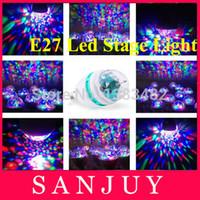 achat en gros de tailles de base de l'ampoule-Gros-LED0043 conduit lumière de la scène 3W RVB stade mini dj / petite taille / ampoule laser Ampoule LED Disco Crystal Ball Lumières E27 Lampe RGB