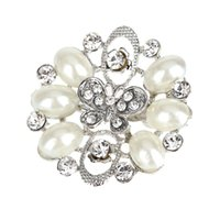 Wholesale 100 Excellent Quality New Arrival Fashion Silver Pearl Rhinestones Butterfly Flower Women Wedding Brooches Pins For Women