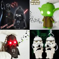 Wholesale Free DHL Star Wars Minifigure Darth Vader Yoda Key chain Toys Star War Figures LED Keychain Pendant Accessories