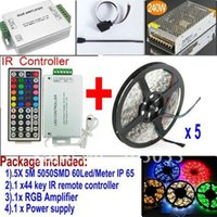 Cheap 5 x 5M Waterproof 5050 SMD RGB 60LEDs Meter LED Strips light+44key IR remote Controller+12v 20A power supply+RGB Amplifier+CABLE