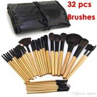 Promoción! ¡El precio bajo! 32 PC 32pcs cosmética para el maquillaje facial maquillaje del kit del cepillo Herramientas del artículo de tocador del kit + Negro bolsa bolsa A5
