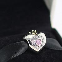 Compra Corazón del oro de la pulsera 925-925 plata esterlina 14K encanto del grano de la princesa Rosa real del corazón del oro con CZ europea apta Estilo Pandora pulseras de la joyería Collares