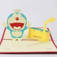 Qubiclife tarjetas de felicitación tridimensionales 3D lindo Doraemon Una postal tarjeta creativa 2015 tarjeta hecha a mano 3D UP regalo Pop 3D Dream Time Machine
