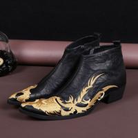 El nuevo ORO chino del dragón del cuero genuino de la llegada bordó el cargador de los hombres de los zapatos de vestido formales Señaló los cargadores de los hombres del alto talón de la manera del dedo del pie