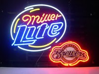 beer brewers - MILWAUKEE BREWER LAGER REAL GLASS TUBE NEON BEER BAR WALL SIGN GAMEROOM CLUB GARAGE