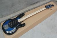 al por mayor string musical instrument-Standard Music 4 cuerdas bajo la música hombre stingRay azul bajo eléctrico con 9 V Batería activa pastillas Instrumentos Musicales