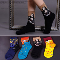 Wholesale 24pcs pair NEW Van Gogh vintage abstraction oil painting series Mona Lisa cartoon cotton women lovers stocking brand Sport Socks pai