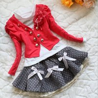100% cotton jackets - New Autumn Girls Sets Corsage Jacket Cotton Long Sleeve T shirt Skirt Suit Children Flower Princess Party Dresses for Baby Kids
