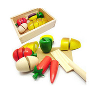 artificial wood - 2014 top fasion educational toys wooden box play food artificial fruit bread food qieqie look slice and cutting crate play house