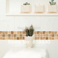art mosaic border - Home Decor Wall Sticker Self Adhesive Wall Skirting Border Art Paper Mosaic Decorative PVC Sticker M