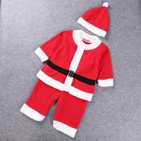 baby christmas hats for girls - 30pcs SamgamiBaby Lovely Christmas Santa Claus long sleeve Cotton Rompers dress hats suits in stock Spring Autumn for Baby girls