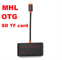 Cheap Micro USB MHL to HDMI HDTV Adapter OTG SD TF Card Reader Writer HUB for Samsung Galaxy S3 S4 S5 Note2 Note3 i9300 i9500 N7100